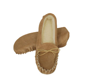 Mens Suede Upper Wool Lined Soft Sole Moccasin
