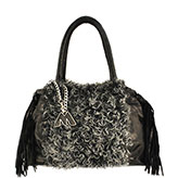 Mari Medium Black Leather  and Two Tone Sheepskin Handbag