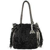 Mari Medium Black leather and Black Sheepskin Handbag