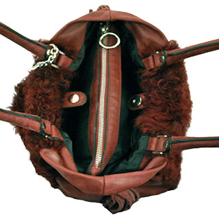 Burgundy leather and sheepskin Shoulderbag