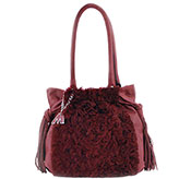 Mari Medium Burg leather and Burg Sheepskin Handbag